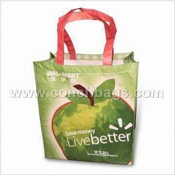 Shopping Bag, Made of Recycle PET with Printed OPP Film Lamination